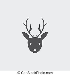 Deer head icon in a flat design in black color. Vector illustration eps10