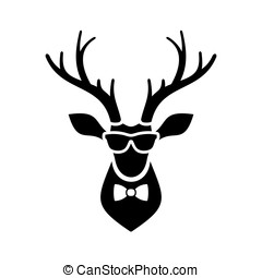 Deer Head Icon with Hipster Sunglasses and Bow Tie. Vector...