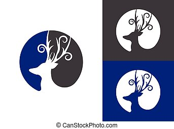 Deer Head in circle Abstract Logo design template. Wild animals hunting Reindeer Logotype concept flat icon.