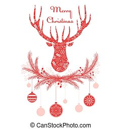 Deer head in wreath with Christmas decorations balls. Merry greeting card vector illustration.