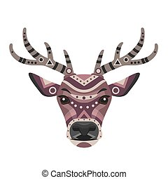 Deer Head Logo. Vector decorative Emblem.