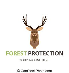 Deer head logo vector silhouette illustration animal design icon wild antlers stag sign