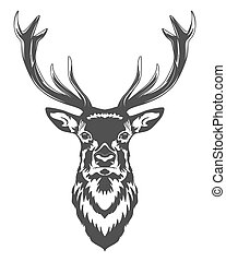 Monochrome deer head isolated on white background.