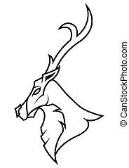 Deer Head on White Background, Antler black draw logo