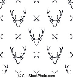 Deer head pattern. Wild animal symbols seamless background. Deers and arrows icons. Retro wallpaper. Stock vector illustration isolated on white