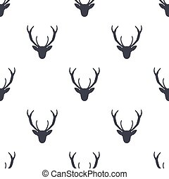 Deer head pattern. Wild animal symbols seamless background. Deers icon. Retro wallpaper. Stock vector illustration isolated on white
