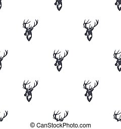 Deer head pattern. Wild animal symbols seamless background. Reindeer icons. Retro wallpaper. Vintage Stock vector illustration isolated on white background