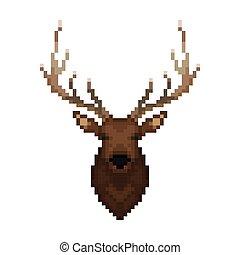 Deer head. Pixel art.