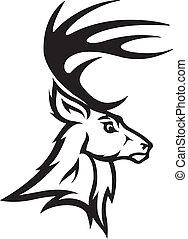 Deer head profile - Illustrated Deer Bust Profile. Black and...