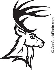 Deer head profile - Illustrated Deer Bust Profile. Black and...