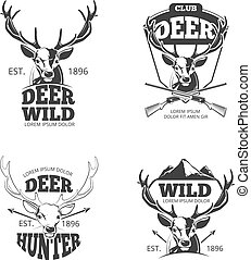 Deer head retro vector badges, labels, logos