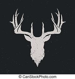 Deer head invert silhouette, hand drawn vintage illustration