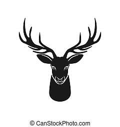 Deer head silhouette on white background