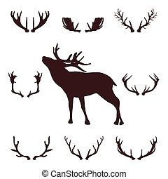 Deer head silhouette with antlers, vector illustration.