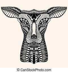 Deer head tattoo mehendi. Vector illustration image....