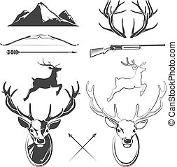 Deer head vector elements constructor for vintage hunting and hipster labels