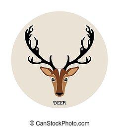 Deer head vector illustration, animal icon