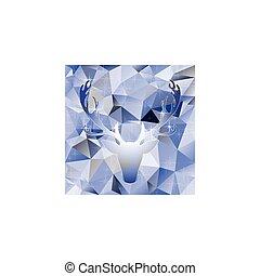 Deer head vector illustration elk silhouette polygonal...