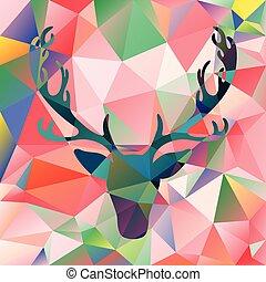 Deer head vector illustration elk silhouette polygonal mosaic abstract background