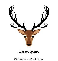 Deer head vector illustration, isolated elk logo