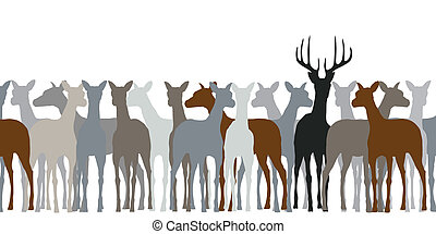 Deer herd - Editable vector silhouette of a herd of deer