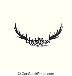 Deer horn vector illustration.