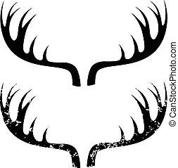 Deer horns grunge vector eps 10