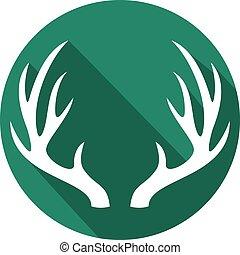 deer horns flat icon