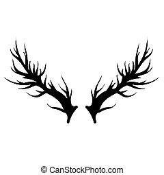 Deer Horns Silhouette Isolated