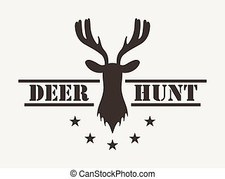Deer hunt. Hunting club logo in vintage style. Vector illustration.