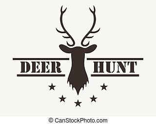Deer hunt. Hunting club logo in vintage style. Vector illustration.