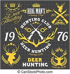 Deer hunting. Set of badges labels logo design elements.