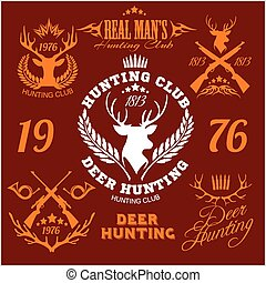 Deer hunting. Set of badges labels logo design elements.