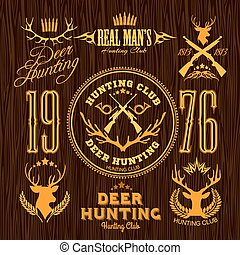 Deer Hunting - vector set for hunting emblem.
