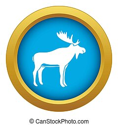 Deer icon blue isolated