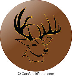 deer icon button color vector illustration