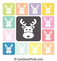 Deer Icon color set vector illustration