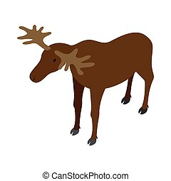 Deer icon, isometric 3d style