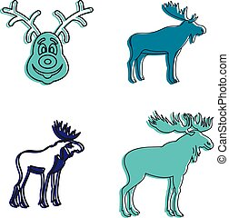 Deer icon set, color outline style - Deer icon set. Color...