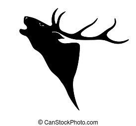Deer. Illustration of a deer head silhouette isolated on ...