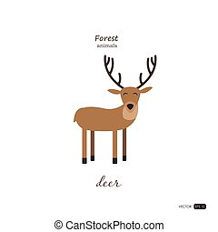 Deer in cartoon style on white background.
