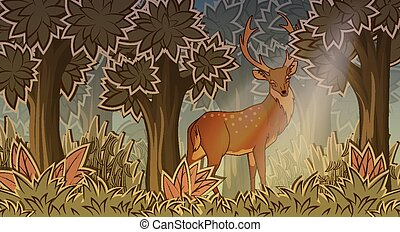 Deer in forest cartoon style