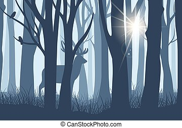 Deer in forest landscape