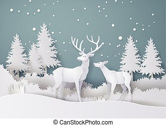 Deer in forest with snow in the winter season. vector paper ...