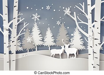 Deer in forest with snow. vector paper art style.