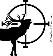 Deer in front of target