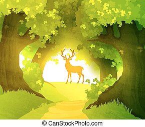 Deer in magic forest standing in front of rising sun
