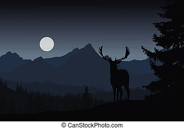 Deer in night landscape with forest and mountains under dark sky with clouds and moon