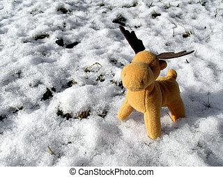 Deer in snow greeting card