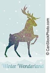 deer in snowy winter ambience - creative geometric shape...